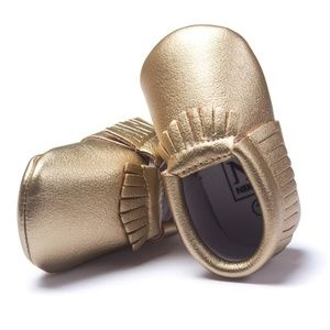 Other - Gold Baby Moccasins - Vegan Leather Tassel Shoes